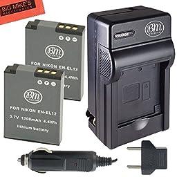 BM Premium 2-Pack of EN-EL12 Batteries & Battery Charger Kit for Nikon Coolpix A900, AW100, AW110, AW120, AW130, S31, S800C, S6100, S6200, S6300, S8100, S8200, S9050, S9100, S9200, S9300, S9400, S9500, S9700, S9900, P300, P310, P330, P340, S1100PJ, S1200P