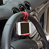KingMas Multi-functional mobile phone Holder / Mount / Clip / Buckle Socket Hands Free on Car Steering Wheel - Providing Better View Access to Your Phone (max screen size 4.8inch) for iPhone 5/5G/ 4/4S,HTC, Samsung Galaxy, PDA and Smart Cellphones