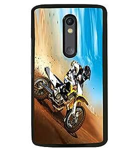 Fuson Premium Dirt Biking Metal Printed with Hard Plastic Back Case Cover for Motorola Moto G3