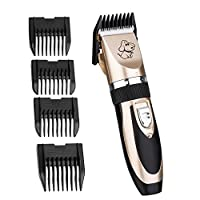 Creaker Rechargeable Cordless pet Dogs and Cats Grooming Clippers Professional Pet Electric Hair Clippers with Comb Guides Pet Grooming Kit Set (Gold +Black)