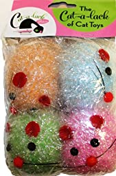 Cat-A-Lack 4-Piece Tinsel Mice Balls with Bell for Pets