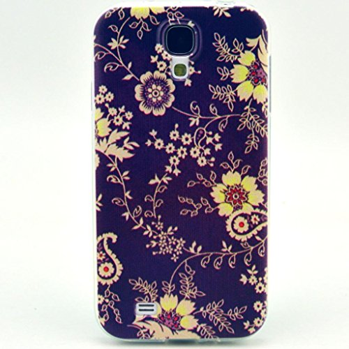 JIAXIUFEN Neue Modelle TPU Silikon Schutz Handy Hülle Case Tasche Etui Bumper für Samsung Galaxy S4 i9500 (Nicht für Galaxy S4 mini i9190/i9195)-Black Yellow Flower