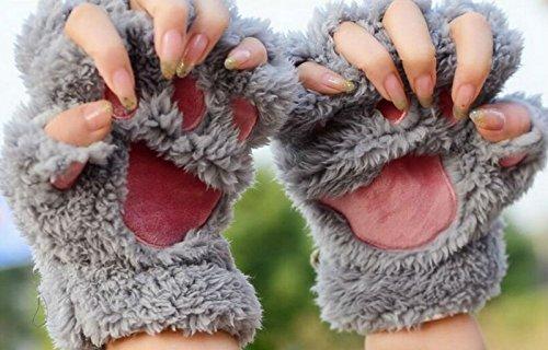 Bei-wang-Neuer-Frauen-Cute-Cat-Kitten-Paw-Fingerlose-Handschuhe-mit-Kunstpelzkurz