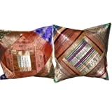 2 Ethnic Vintage Sari Zari Borders Toss Pillow Cushion Covers Free Shippingby Mogulinterior