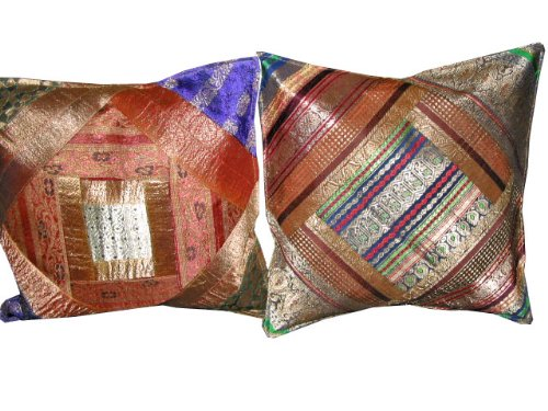 Christmas Gift-2 Ethnic Vintage Sari Zari Borders Toss Pillow Cushion Covers Free Shipping
