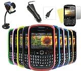 iTALKonline CAR DRIVE Pack Soft ProGel PAQUETE DE 10 púrpura ROJO LIGHT AZUL VERDE DARK AZUL VERDE AMARILLO NEGRO COLOR BLANCO NARANJA ROSA Caso Hydro / portada / piel, pantalla LCD / Scratch Protector, 12/24V Cargador de coche, soporte para coche de succión en parabrisas para BlackBerry 8520 Curve, 9300 3G