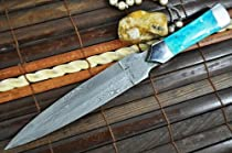 Custom Handmade Damascus Hunting Knife - Double Edge Knife