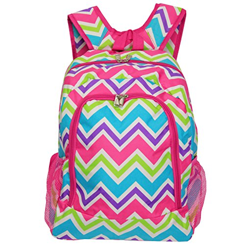 World Traveler Multipurpose Backpack Pink Trim Chevron
