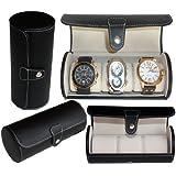 Leatherette Roll Traveler's Watch Storage Organizer for 3 Watch, Black