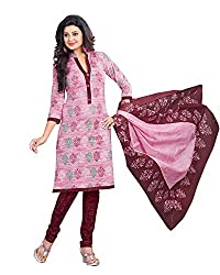 Drapes Women's Cotton Printed Unstitched Dress Material (Pink)
