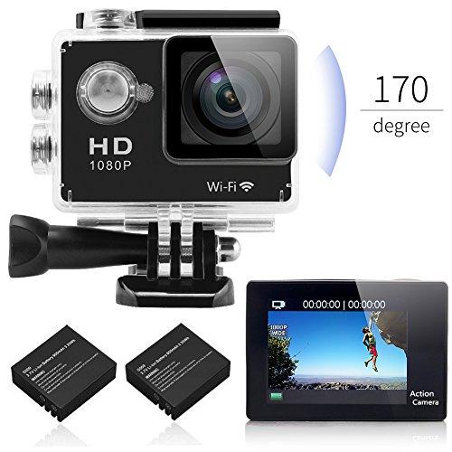 GooKit® Black 2.0'' WiFi Full HD 1080P Sports camera 12MP, 2x Batter