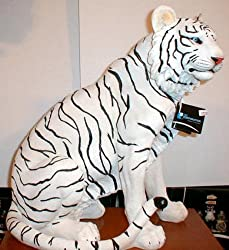 "Sitting Life Sized White Bengal Striped Tiger Statue 21"" Tall"