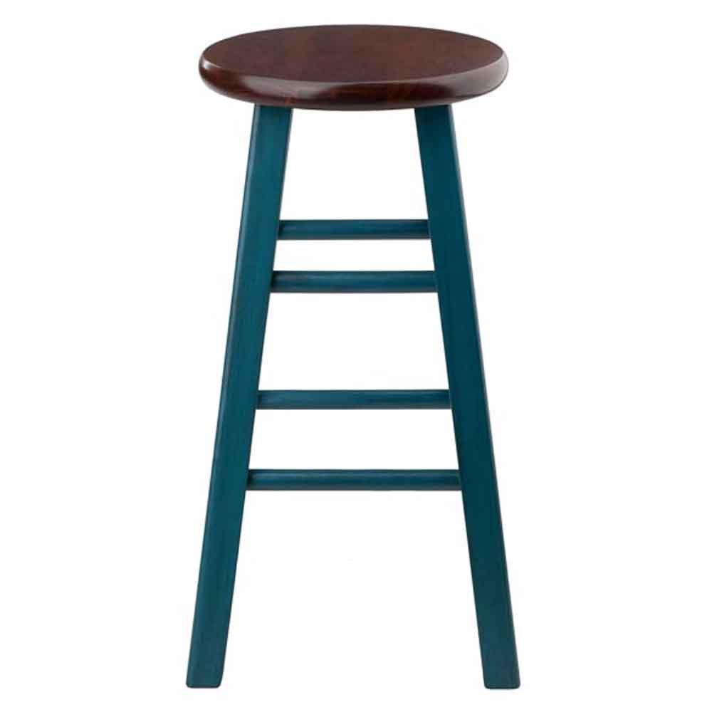 Winsome Wood 62224-WW Ivy Model Name Stool, Rustic Teal/Walnut