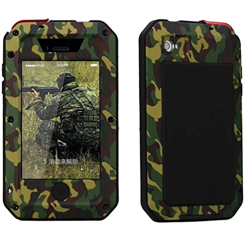 iPhone Waterproof Case, Heavy Duty Outdoor Military Camouflage Aluminum Metal Shockproof Gorilla Glass Cover Bumper for iPhone 4/4S/5/5S/5C/6/6S Plus (Camouflage For iPhone 4/4S) (Camo Iphone 4 Covers compare prices)