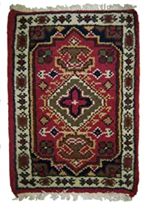 """Hand Knotted 100% Wool Pile Small Rug with Traditional Intricate Design -- 23"""" X 16"""""""
