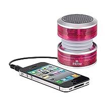 iHome IM60PT 3.5mm Aux Portable Speaker (Pink Translucent)