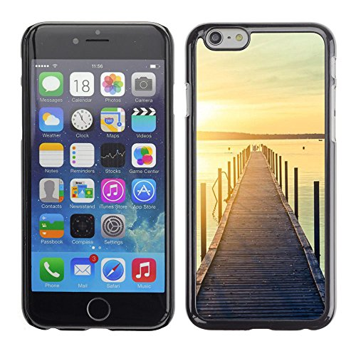 For Apple iPhone 6(4.7 inches) Case , Jetty Dock Beach Sunset Lake - Colorful Pattern Hard Back Snap-On Cover Case Skin Mobile Phone Shell Bumper