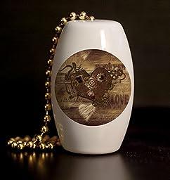 Steampunk Love Porcelain Fan / Light Pull