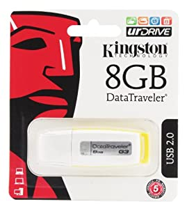 Kingston DataTraveler 8 GB High-Speed USB Flash Drive DTIG3/8GBZ, White and Yellow