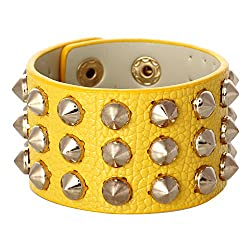 Aaishwarya Funky Spikes Yellow Wrap Bracelet/Wristband For Men & Women