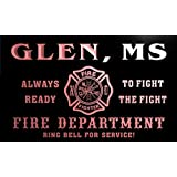 qy59052-r FIRE DEPT GLEN, MS MISSISSIPPI Firefighter Neon Sign Barlicht Neonlicht Lichtwerbung
