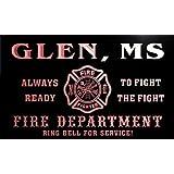 qy59052-r FIRE DEPT GLEN, MS MISSISSIPPI Firefighter Neon Sign Barlicht Neonlicht Lichtwerbung