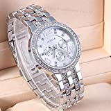 2014 New Fashion Women Dress Watches Geneva Watch, Rose Gold Full Steel Casual Analog Quartz Ladies Wristwatch (Silver)