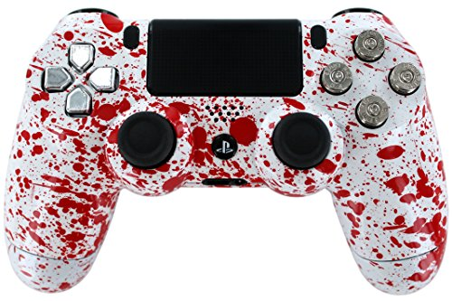 """Blood Splatter & Real Nickel 9Mm Bullet Buttons"" Ps4 Custom Moddded Controller Cod ""Aw"" & Battlefield Ready By Gimika"