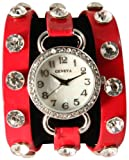 WHOLESALE: 4 for $40Just In Red Wrap Around Watch with Sparkly White Rhinestones and Studs
