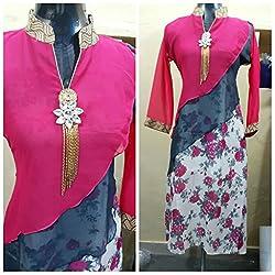 JJR STORE Pink Georgette Kurti(Semi-stitched)