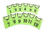 [アスタルテ] ASTARTE 軽量速乾 番号 ビブス 7色 収納ポーチ セット (グリーン 1番~12番セット)
