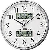 CITIZEN (シチズン) 電波掛け時計 インフォームナビF 温湿度計・警告音付き シルバー 4FY618-019