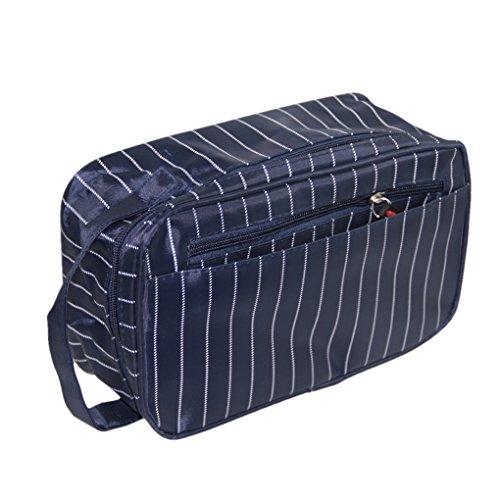 Bao Core Haute Qualité Etui / Trousse de Toilette Rayures Business Imperméable Sac de Rangement Indispensable Voyage Portable Unisexe - Bleu