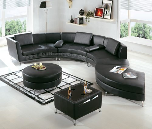 Black Leather Contemporary Sectional Sofa with Ottomana and a Multifunction Table