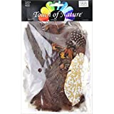 Touch of Nature Packed Feather Assortment for Arts and Crafts, 7gm, Chestnut/Natural/Brown