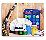 Mousepads Paintbrushes watercolor gouache and paper are on wooden shelf IMAGE 19507948 by MSD Mat Customized Desktop Laptop Gaming Mouse Pad