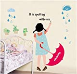 Topro Spotting With Rain Raindrops Umbrella Girl Wall Art Stickers Decal fo...
