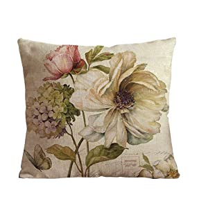 ilkin 18 X 18 Inch Cotton Linen Decorative Throw Pillow Cover Cushion Case, vintage flower