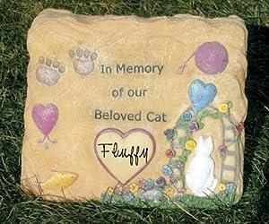 Cat Remembrance Garden Rock Decorative Plaque - Bereavement Sympathy Personalized - 9.5 Inch