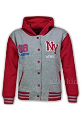 Kids Girls Boys Baseball NY ATHLETIC Hooded Jacket Varsity Hoodie Age 7-13 Years