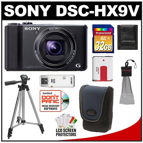 Sony Cyber-Shot DSC-HX9V Digital Camera (Black) with 3D Sweep Panorama + 32GB Card + Battery + Case + Tripod + Accessory Kit