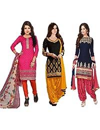 White World Women'S Faux Cotton Dress Material Salwar Suit Set (B!!--N3-1_Pink|Black|Blue_Free Size)