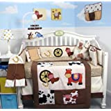 SoHo Cowboy Blues Baby Crib Nursery Bedding Set 14 pcs included Diaper Bag with Changing Pad & Bottle Case