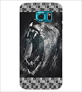 PrintDhaba Roaring Lion D-4634 Back Case Cover for SAMSUNG GALAXY S6 (Multi-Coloured)