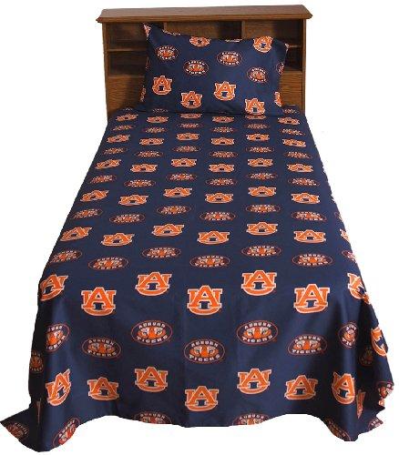 Collegiate Auburn Queen Sheet Set - Blue Ncaa Tigers Bedding Queen Bed front-944141