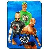 "WWE Wrestling Crew Blanket - John Cena, The Rock and CM Punk twin size (62""x 90"")"