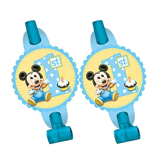 8 Count Mickey's 1st Birthday Blowouts, Blue - 1