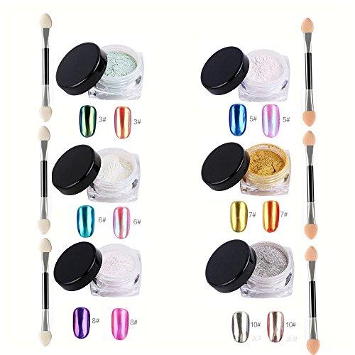 VALUE MAKERS Specchio Powder-Glitter Polveri punta Nails decorazione di arte-Bellezza corredo di trucco cosmetici Strumenti 6 Box 2-3 g Nail Specchio Nail di scintillio polvere multicolore Oro Argento polvere del pigmento Art Cromo-Shinning con 6pcs Sponge Stick