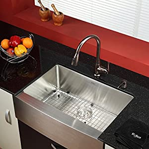 30 farmhouse single bowl stainless steel kitchen sink for Oiled bronze faucet with stainless steel sink