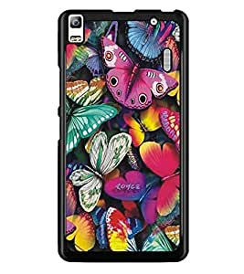 PrintDhaba Butterflies D-5197 Back Case Cover for LENOVO A7000 TURBO (Multi-Coloured)